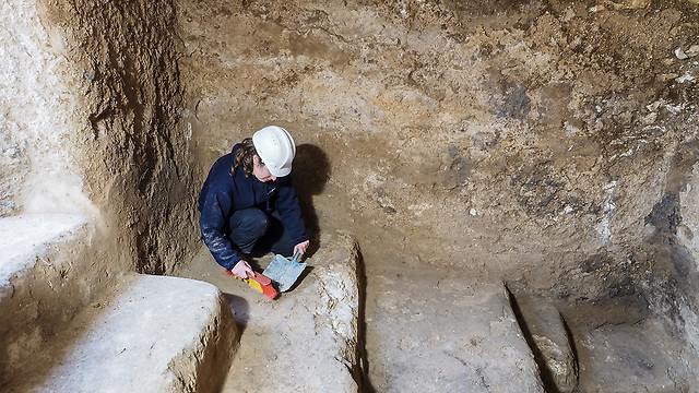 Excavation director Sarah Hirshberg in one of the ritual baths unearthed. (Photo: Assaf Peretz, courtesy of the IAA)