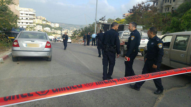 Police at the scene of shooting, Umm al-Fahm