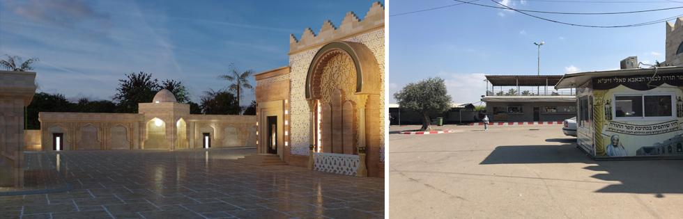 לפני ואחרי: ההשראה היא העיר ריסאני במערב מרוקו, מקום קבורתם של רבים ממשפחת אבוחצירא (צילום: הילה שמר, הדמיה: בוריס יעקוב, אבגי קרמן אדריכלות)