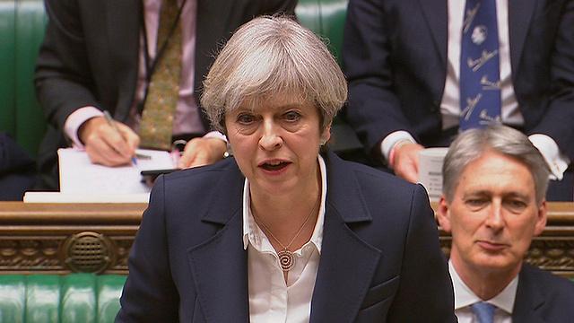 תרזה מיי בצהריים בפרלמנט הבריטי. המטרה: סיום התהליך בתוך שנתיים (צילום: רויטרס) (צילום: רויטרס)