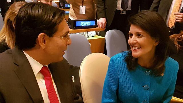 Israeli Ambassador to UN Danny Danon (L) with Haley