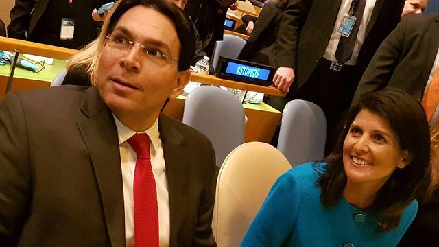 """ניקי היילי ושגריר ישראל באו""""ם דני דנון"""