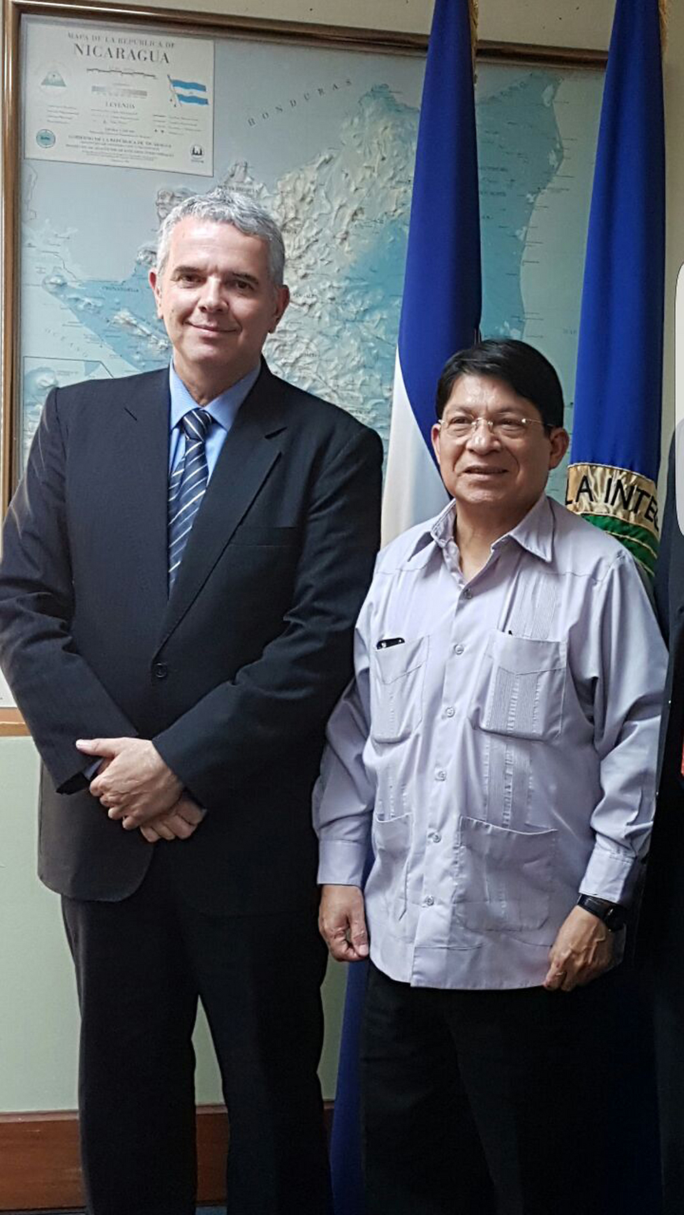 L to R: Deputy Director General of the Foreign Ministry's Division for Central and South America Modi Efraim with Nicaragua's Foreign Minister Denis Moncada