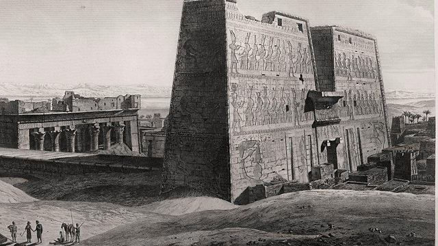 A painting of Egyptian antiquities (Photo: National Library of Israel)
