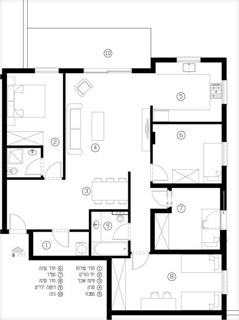 תוכנית הדירה לפני השינויים (תוכנית: באדיבות דקלה פרידמן)