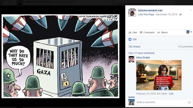 Caricatures inciting against Israel on Facebook