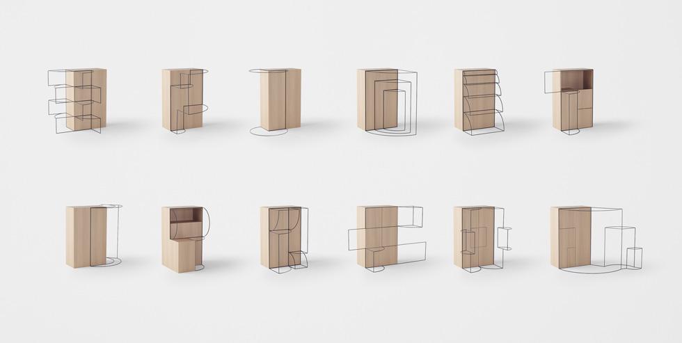 מדוע ארון או שידה צריכים רק אופציית פתיחה אחת? מחקר על האפשרות להפוך את הרהיט לגמיש בהרבה, באמצעות שלל אופציות פתיחה וסיבוב. עיצוב מוצר שמזכיר שפה כתובה (צילום: nendo)