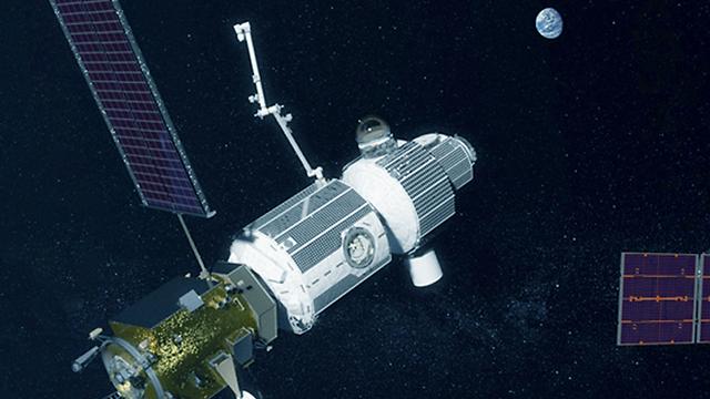 """הדמיה של תחנת החלל המתוכננת במסלול סביב הירח (צילום: נאס""""א)"""