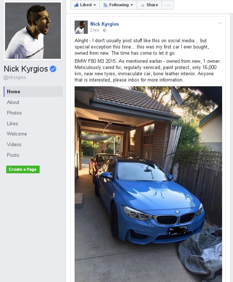 הפוסט המוזר של קיריוס (צילום מסך מתוך פייסבוק) (צילום מסך מתוך פייסבוק)