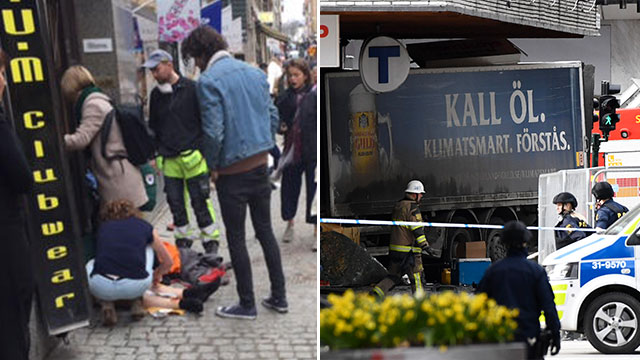 L to R: Treating the wounded; The truck used in the attack (Photos: AFP)