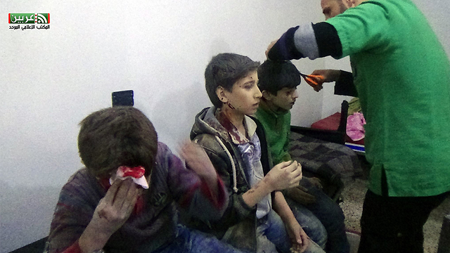 Syrian children are treated are being hit by Assad forces