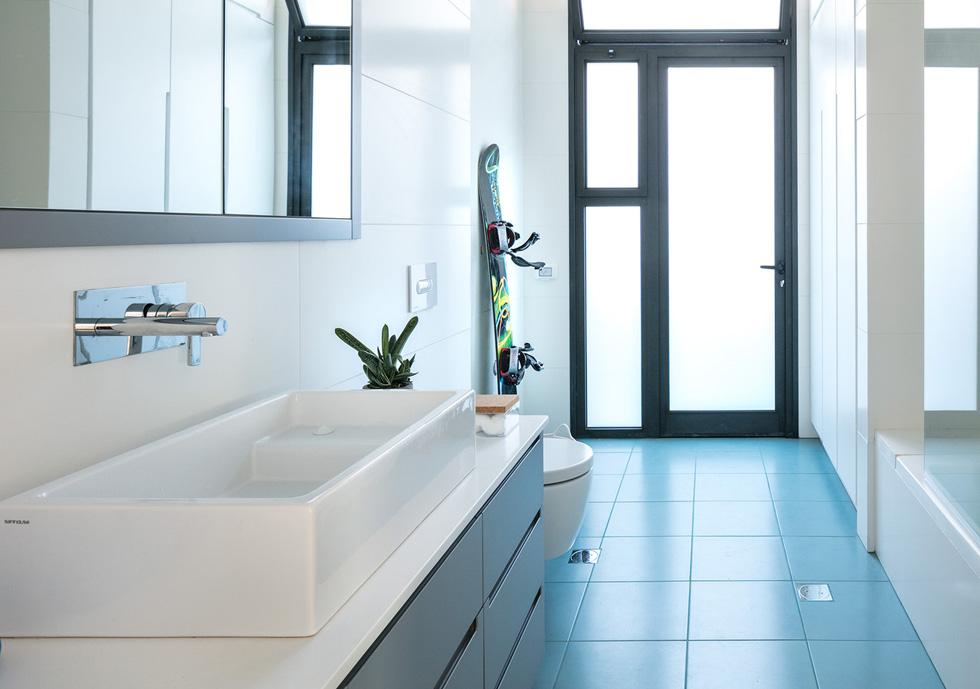 חדר הרחצה מופרד מאזור הכביסה במחיצת זכוכית, כדי לאפשר לאור להיכנס (צילום: עוזי פורת)