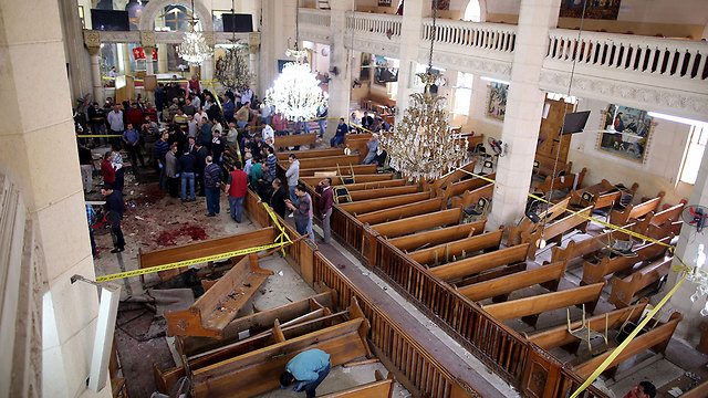 The bombed church in Tanta (Photo: EPA)
