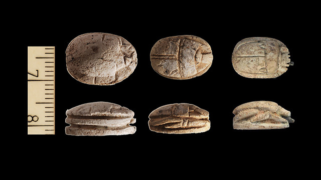 Scarabs from the Temple Mount (Photo: Temple Mount Sifting Project)