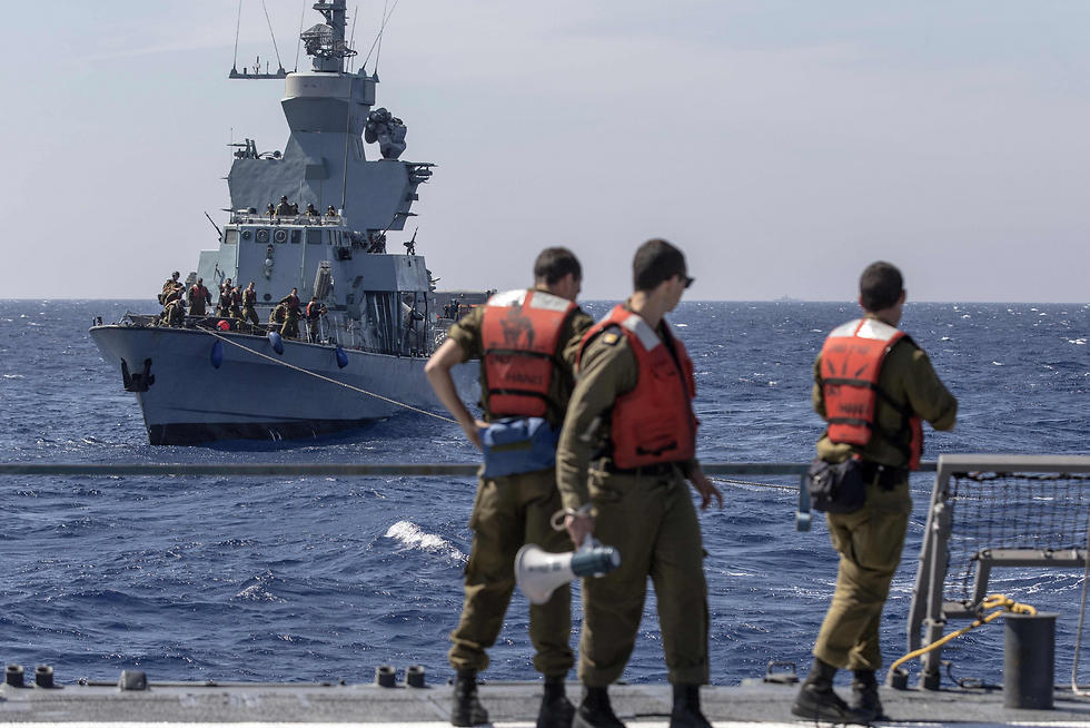 Israeli sailors onboard the INS Hanit take part in the Novel Dina 17 training session in the Mediterranean Sea. (Photo: AFP)