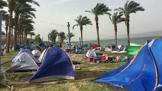 בחוף לבנון כבר הותקנו מצלמות (צילום: רשות הכינרת) (צילום: רשות הכינרת)