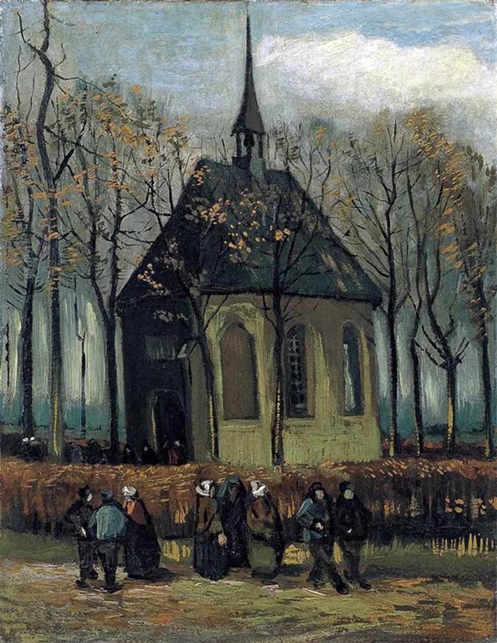 """""""אנשים יוצאים מהכנסייה בניינן"""" של ואן גוך - אחד מהציורים שנגנבו ונמצאו (צילום: gettyimages)"""