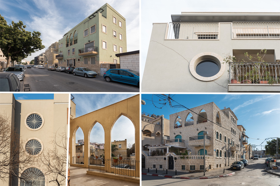 ארבע דוגמאות מתוך יותר מ-40 בתים שהוא הספיק לתכנן. נוה צדק פוגשת את יפו (צילום: ליאור גרונדמן)