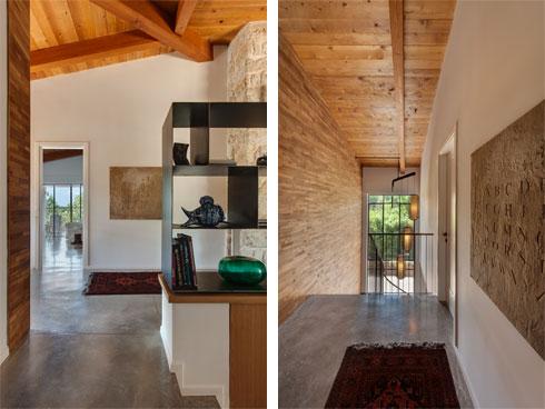 מסדרון האגף הפרטי, וישורת המדרגות המובילות לקומת המרתף (צילום: עודד סמדר)