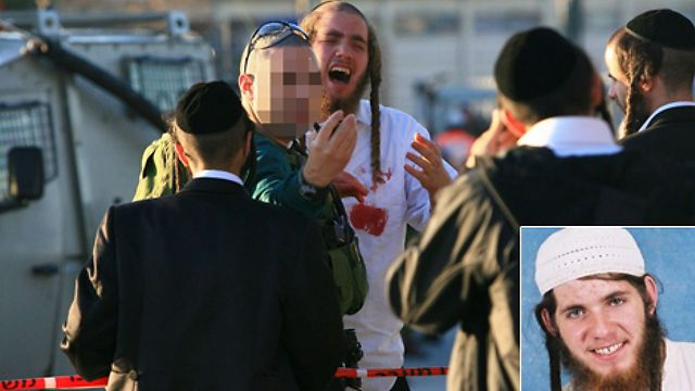 Ben-Yosef Livnat and the scene of the attack at Joseph's Tomb (Photo: AFP) (Photo: AFP)