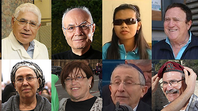 From top to bottom, left to right: Prof. Ahmed Eid, Eli Amir, Dina Samte, Yehoram Gaon, Hana Henkin, Miri Erenthal, Rabbi Marvin Hier and Yaakov Hetz