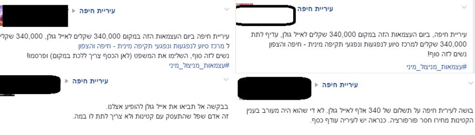 תגובות נזעמות. מתוך עמוד הפייסבוק של עיריית חיפה