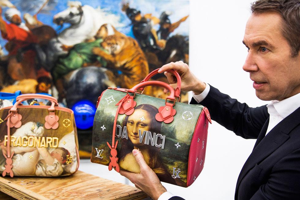 """""""סדרת הציורים 'כדורי הבדולח' ואוסף התיקים הם הרבה מעבר להעתקים של יצירות מפורסמות, הם ממשות אחרת. זו חגיגה של הומניזם"""", אמר ג'ף קונס על שיתוף הפעולה עם לואי ויטון (צילום: לואי ויטון מלטייר)"""