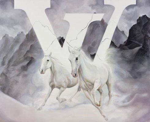 """""""הלוגו שטוח, גרפי נטול עומק, בניגוד לסוסים הדוהרים, שיש בהם זיכרון של משהו טהור ותם"""". עבודה של אלין אלג'ם (צילום: אלעד שריג)"""