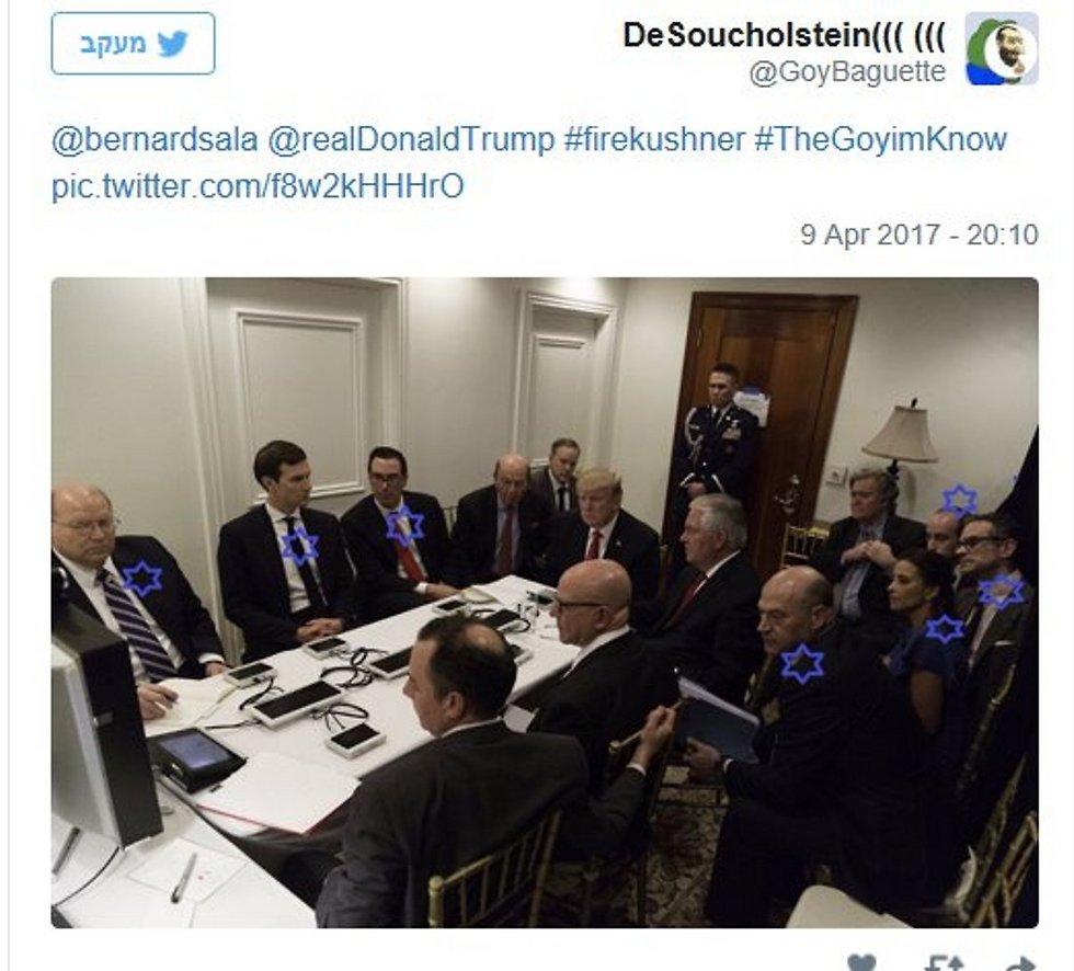 """גולש בטוויטר פרסם מחדש את התמונה תחת הכותרת """"דונלד טראמפ האמיתי"""" (צילום מסך)"""