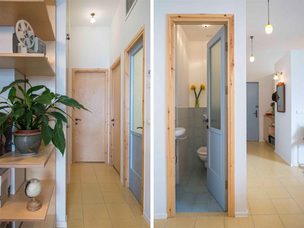 מימין: מבט אל המבואה ואל שירותי האורחים. משמאל: במסדרון נמשכת הצבעוניות והחומריות. משקופי הדלתות עשויים עץ אורן, הדלתות מעץ לבנה, ולחדרי הרחצה דלתות תכולות בשילוב זכוכית מחוסמת (צילום: גל דרן)
