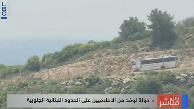 Israeli private bus seen by Hezbollah from Lebanon