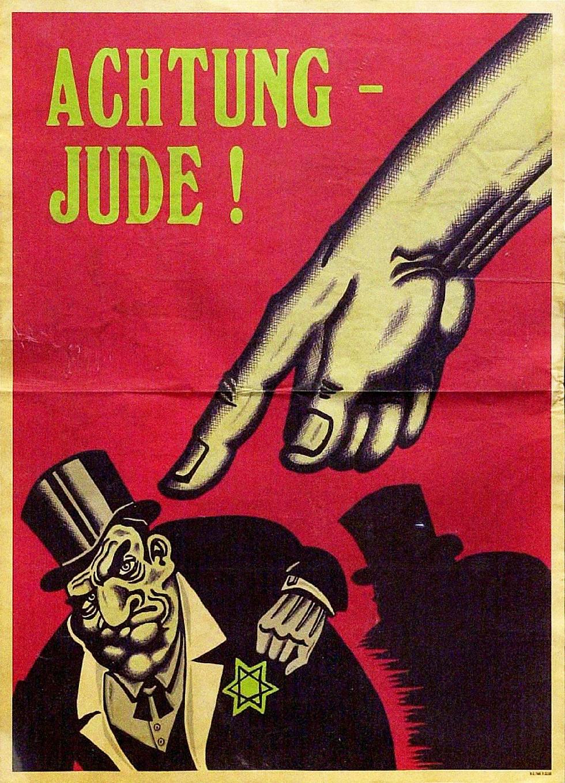 """יהודים, היזהרו! גרמניה של שנות ה-30 (מתוך התערוכה """"תעשיית השנאה"""" במוזיאון משואה)"""