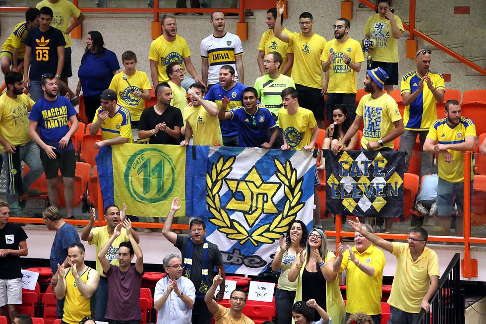 הקהל הצהוב חוגג אליפות (צילום: דייויד סילברמן, איגוד הכדורעף)