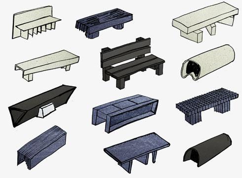 הספסלים מחומרים ממוחזרים (שרטוטים: Max Lamb)