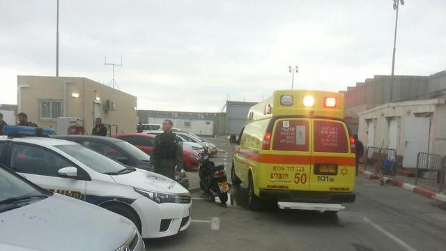 Medical crews at the checkpoint after the attack (Photo: MDA)