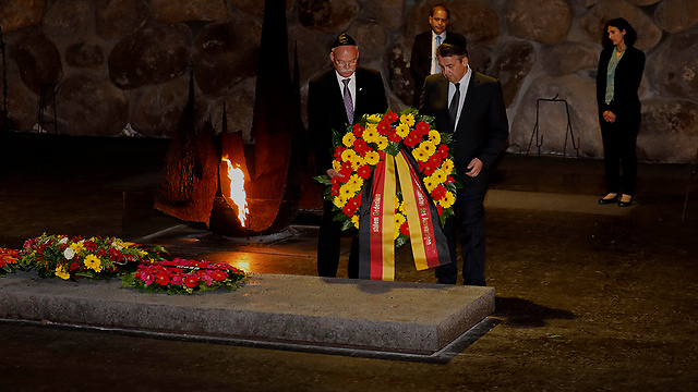 Gabriel lays a wreath at Yad Vashem for Holocaust Remembrance Day (Photo: AFP) (Photo: AFP)