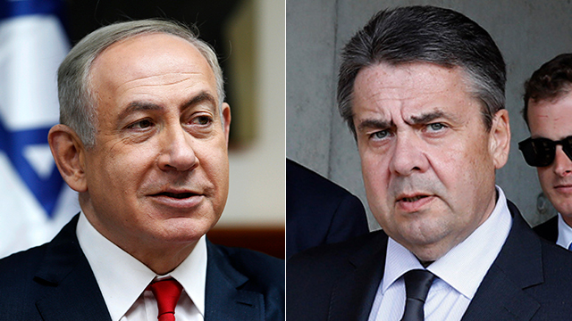 Prime Minister Netanyahu and German Foreign Minister Sigmar Gabriel (Photo: AFP and AP)