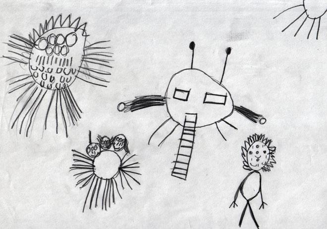 ציור של בן 8, המאפשר לו לברוח מתוך מציאות קשה אל עולם של יצורים מהחלל