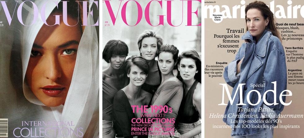 """""""כשאת נכנסת לדוגמנות בגיל מאוד צעיר, את לומדת להתבגר מהר"""". מימין: על שער מארי קלייר בשנה האחרונה, בשער הקבוצתי האיקוני ועל ווג בשנת 1989"""