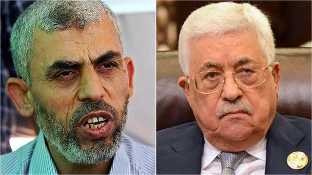 Hamas's chief in Gaza Yahya Sinwar and Mahmoud Abbas (Photo: AFP)