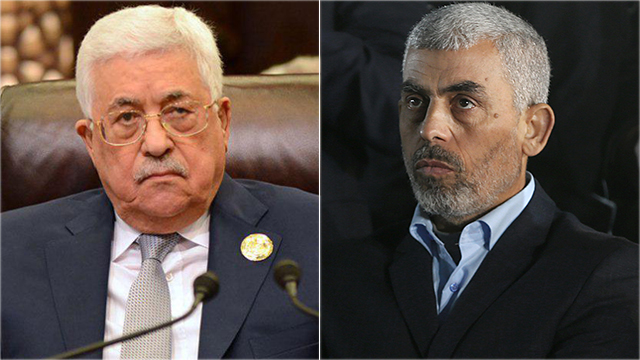 PA President Mahmoud Abbas (L) and Hamas leader Yahya Sinwar (Photo: AFP, EPA)
