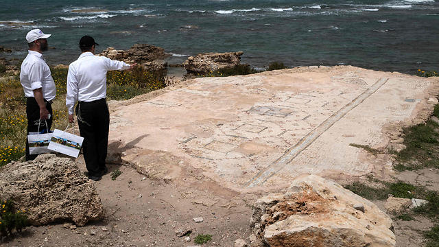 Part of ancient synagogue, discovered during the renovation of the ancient harbour of Caesarea (Photo: AFP)