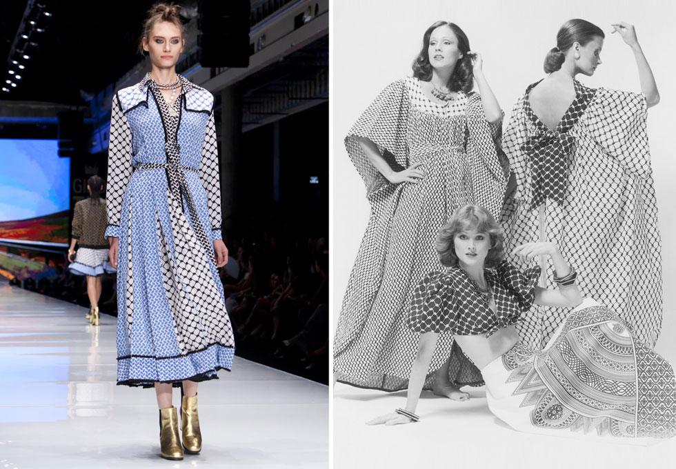 שמלות כאפייה בעיצוב ישראלי, אז ועכשיו. עיצובים של רוז'י בן יוסף (מימין) ודודו בר אור (צילום: בן לם, ענבל מרמרי)