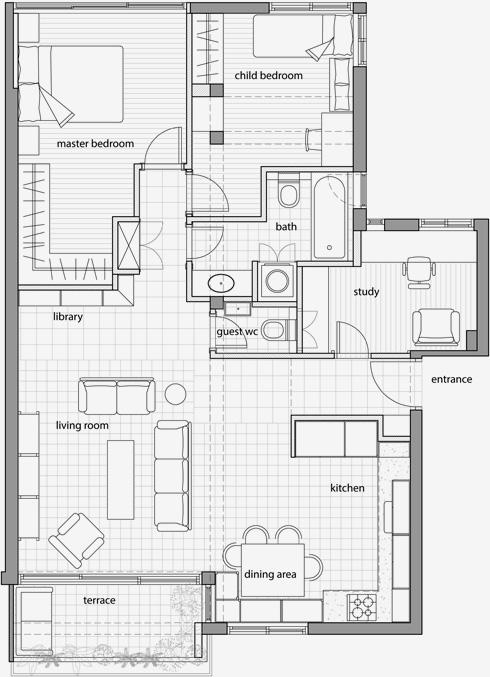 התוכנית החדשה. הסלון וחדרי השינה החליפו מקום, שירותים וחדר עבודה נוספו (תוכניות: טלי ג'רסי אדריכלות)