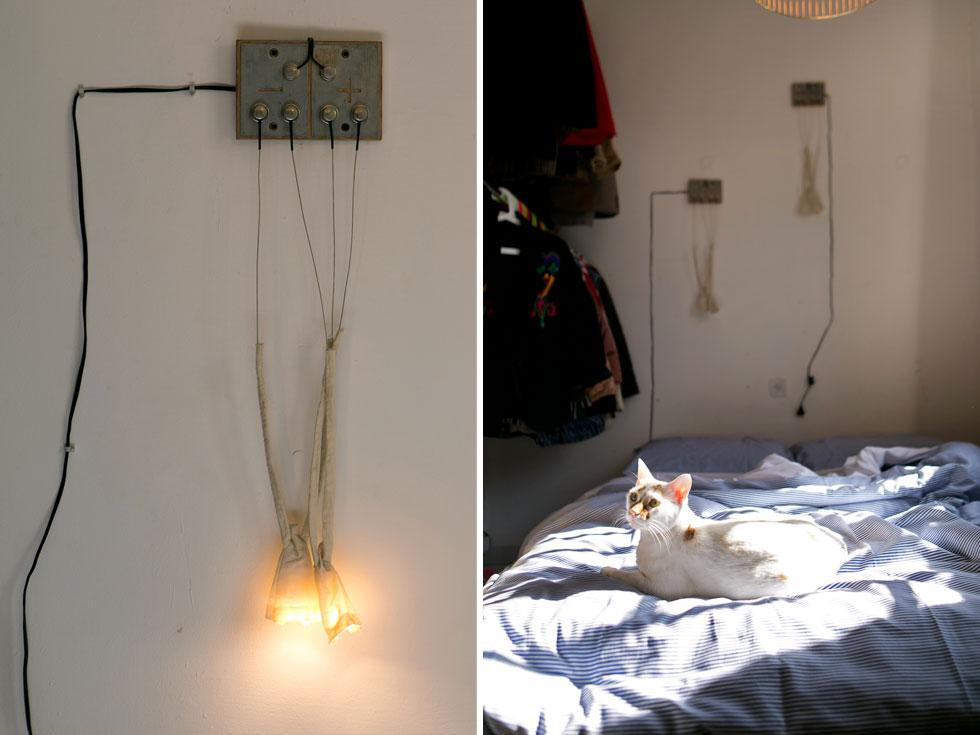 מלבד שמיע וימין גרים בדירה שני כלבים ושלושה חתולים. על הקיר מנורות של סטודיו מג'נטה (צילום: שירן כרמל)