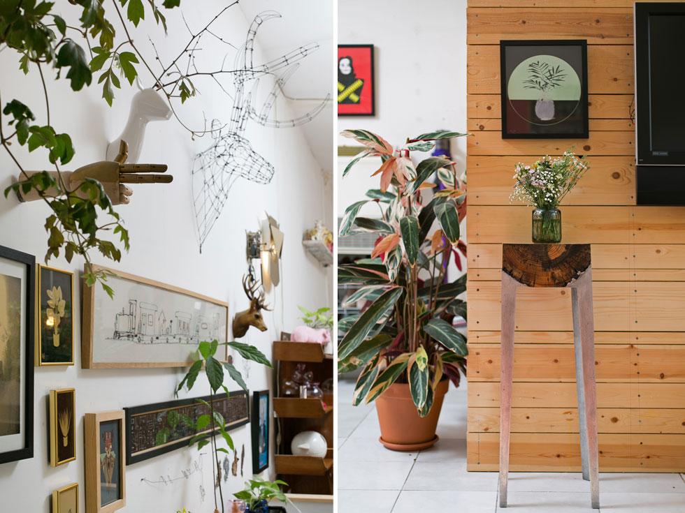 בתמונה מימין, למשל, שרפרף גבוה מסדרת Wood Casting של שמיע, שמחברת בין עץ גושני ואלומיניום מותך. משמאל, על הקיר - ראש אייל מפוסל מחוט ברזל של קובי סיבוני, יד מצביעה של אוהד בנית, הדפסי משי של שמיע, איורים של מיקי מוטס ודרפיש ועבודת רקמה ממוסגרת של מיקי אוחנה (צילום: שירן כרמל)