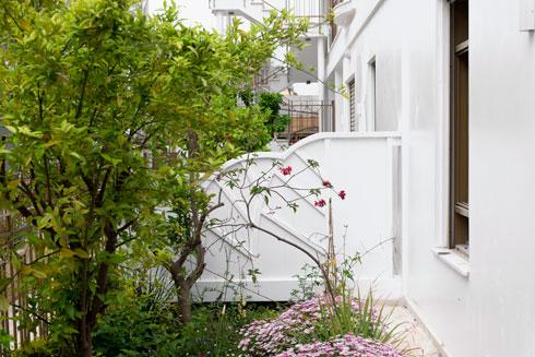 כמו רחוב אירופי ישן. הצמחייה נאה, אף שעצי הפרי שביקשה האדריכלית לא נשתלו (צילום: גדעון לוין)