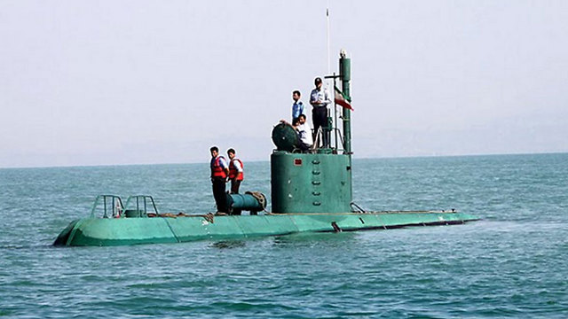 Iranian submarine in the Strait of Hormuz