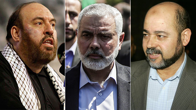 L to R: Nazzal, Haniyeh and Abu Marzuq (Photos: Ap, Reuters)
