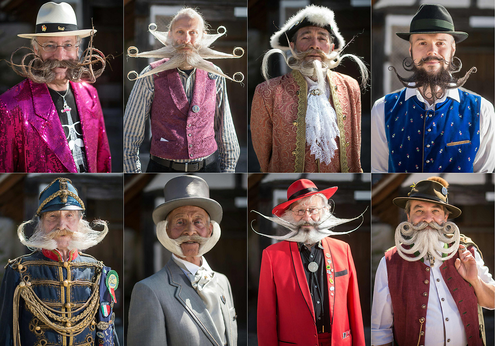 בעיר אונגרשם שבצרפת ערכו את תחרות השפם והזקן היפה ביותר  (צילום: AFP)
